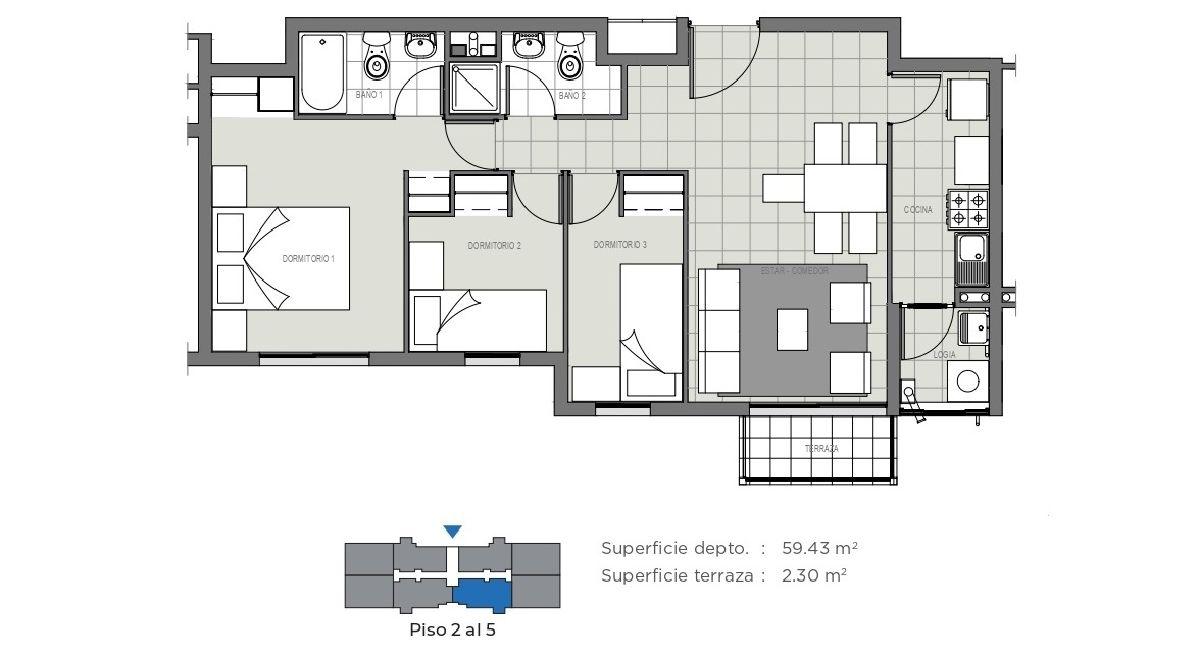 Edificio Mirador de la Floresta II - 61 m2