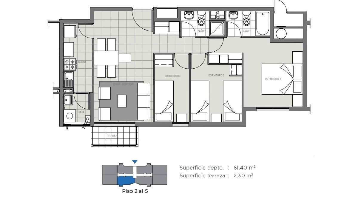 Edificio Mirador de la Floresta II - 63 m2