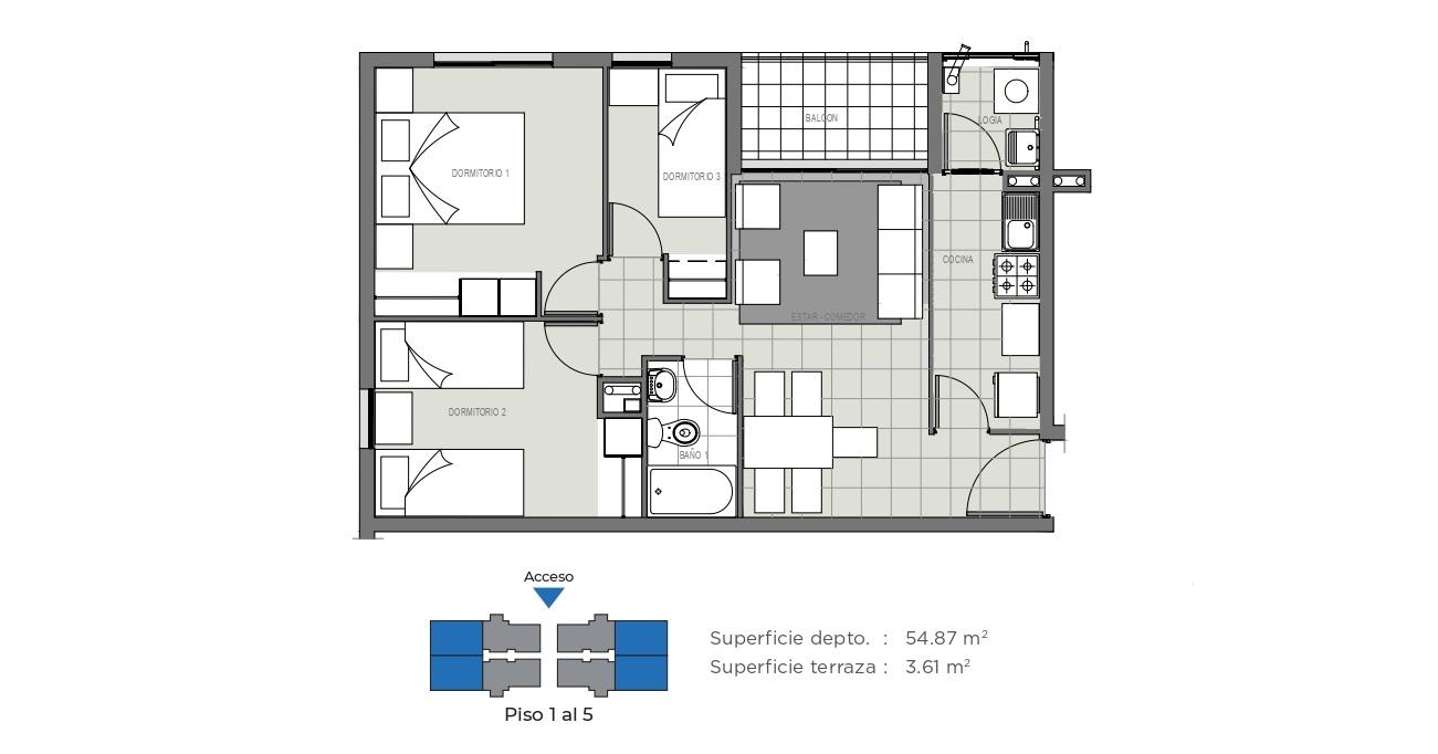 Edificio Mirador de la Floresta II - 58 m2