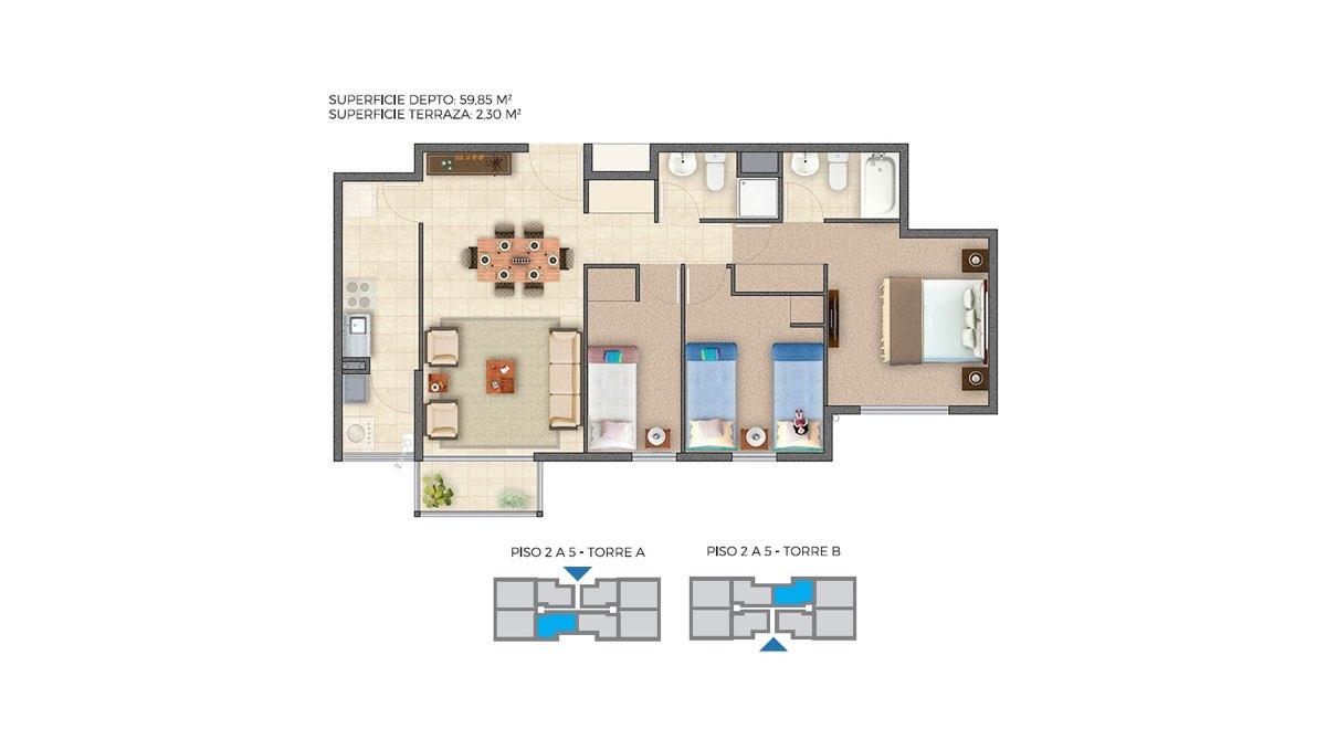 Edificio Barrio Nuevo - Depto C 62m2