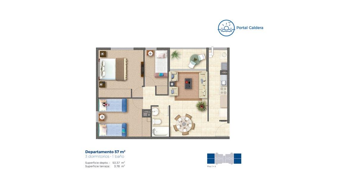 Edificio Portal Caldera – Departamento 57 mts