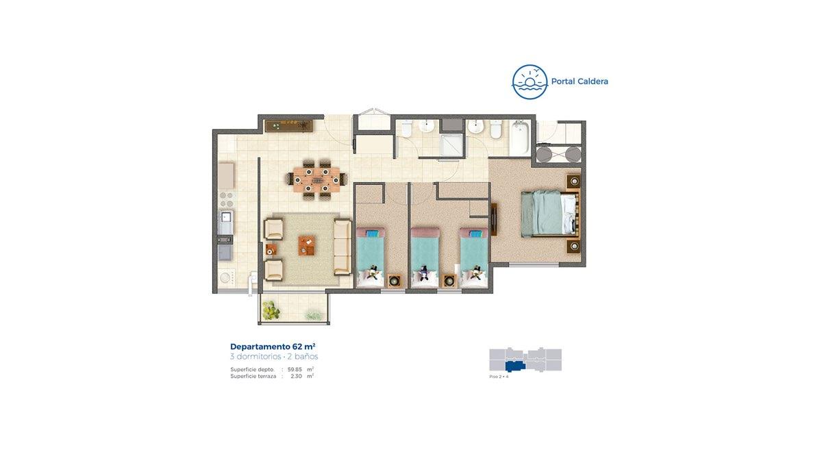 Edificio Portal Caldera – Departamento 62 mts