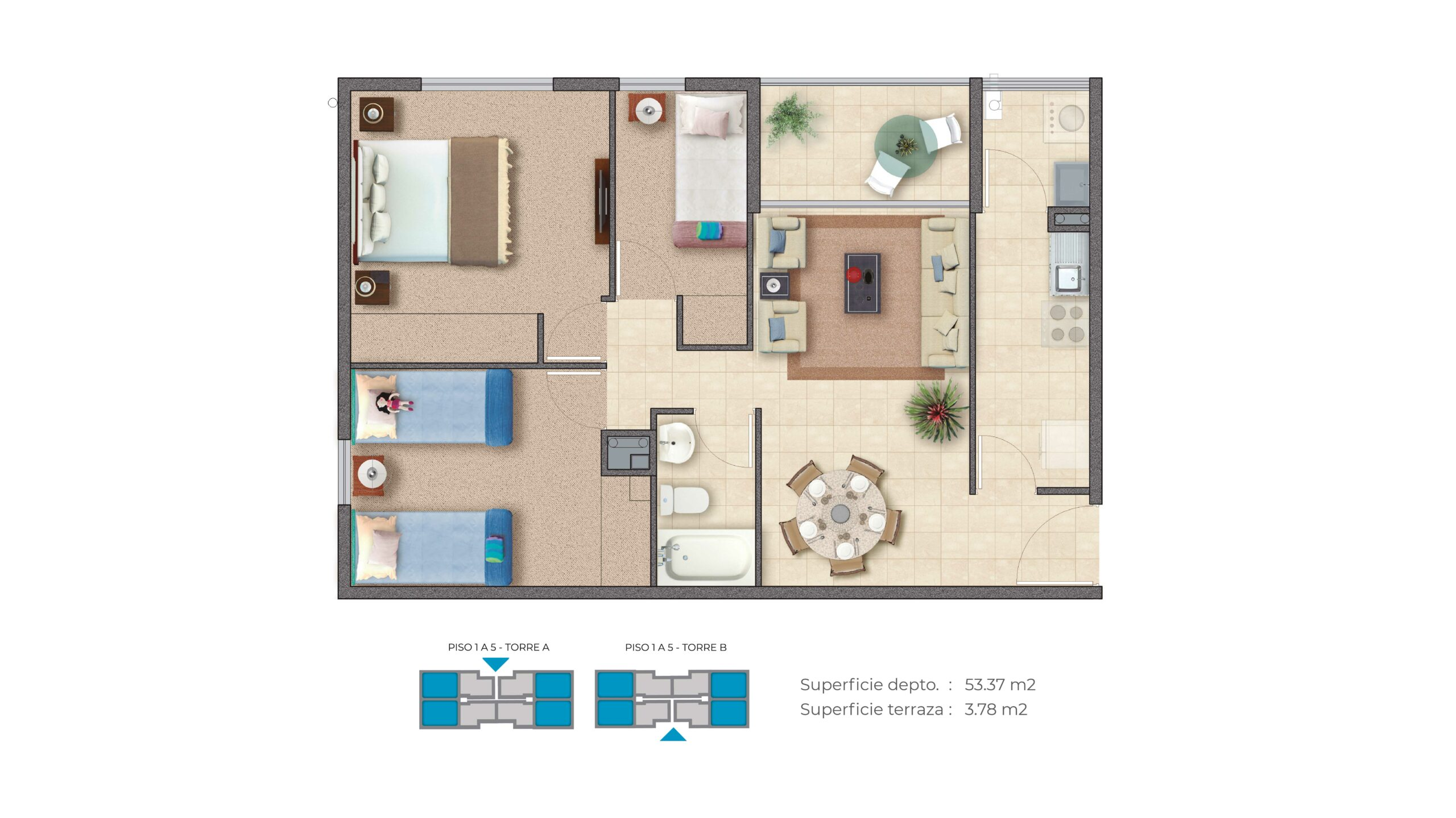 Edificio Barrio Nuevo – Depto A 57m2