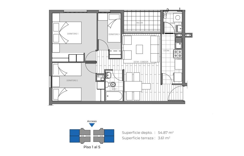 Edificio Mirador de la Floresta III - 58 m2