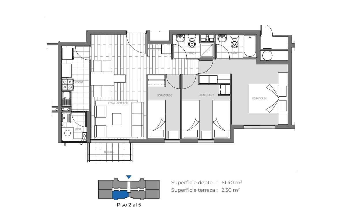 Edificio Mirador de la Floresta III - 63 m2
