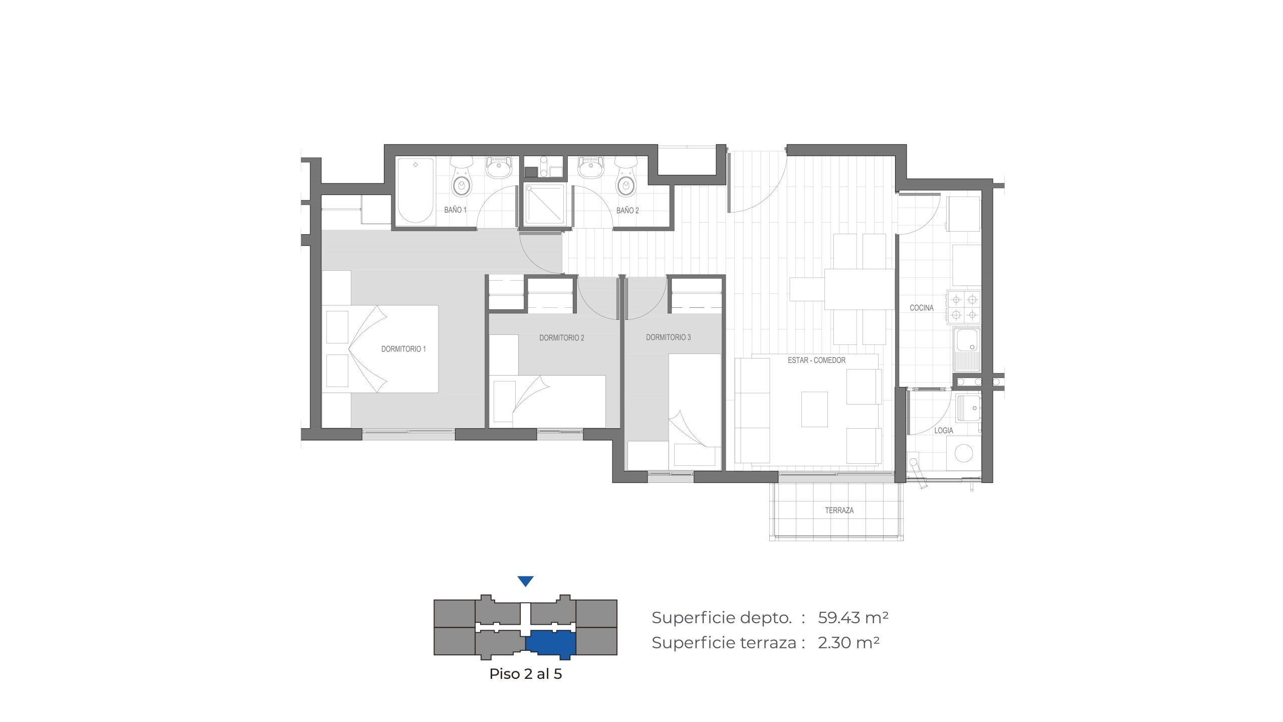Edificio Mirador de la Floresta III - 61 m2